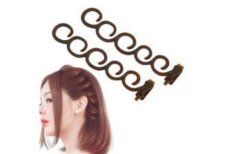 Aysekone 2 Pcs/Set Women's Hair Braiding Tools Coffee Magic Hair Twist Styling Clip Braider Roller Bun Maker DIY Hairstyle Styling Accessory