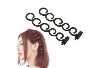 Aysekone 2 Pcs/Set Women's Hair Braiding Tools Black Magic Hair Twist Styling Clip Braider Roller Bun Maker DIY Hairstyle Styling Accessory