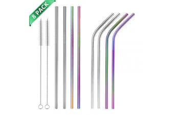 (Silver + Colorful) - Hianjoo Stainless Steel Straws 8 Set, Reusable Metal Drinking Straws 22cm with 2 Cleaning Brush for Milkshake, Smoothie, Cocktails and Hot Drinks - Silver & Colourful