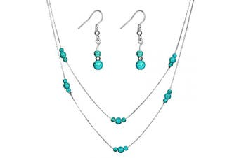 (Silver) - Jovono Women's Necklace Earring Set With Alloy Turquoise Beaded For Women and Girls
