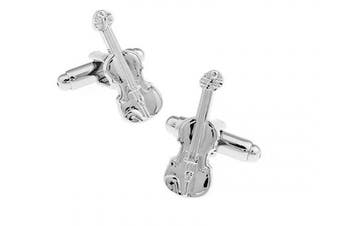 Ashton and Finch Silver Violin Cufflinks in a Free Box. Novelty Music Theme Jewellery