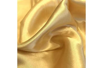 (10 Yards, Gold) - Charmeuse Satin Fabric | 10 Yards Continuous | 150cm Wide | Silky, Bridal | Decoration, Fashion Crafts (Gold, 10 Yd)