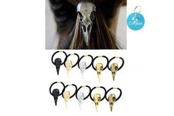 Carykon 10PCS Women Girls Hair Tie Alloy Crow Skull Elastic Ponytail Holders, Mixed Colours