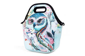 (Owl) - Neoprene Lunch Bag, Cute Lunch Bags for Women Kids Girls Teen Boys, Insulated Waterproof Lunch Tote Box for Work School Travel and Picnic (Red Owl)