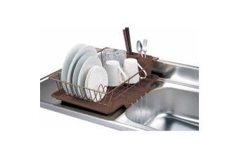 Home Basics 3-Piece Dish Drainer Set, Bronze , Plastic , Metal 19.00 x 13cm x 30cm