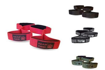 (Red) - BEAR GRIP - Premium Figure 8 weight lifting straps (sold in pairs)