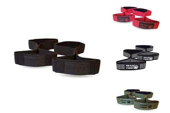 (Black) - BEAR GRIP - Premium Figure 8 weight lifting straps (sold in pairs)