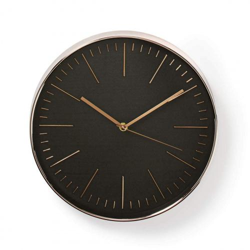 30 cm Diameter Quartz Movement for Precision and Accuracy Invero Stylish Circular Black Wall Clock Finished with Brushed Steel Edge