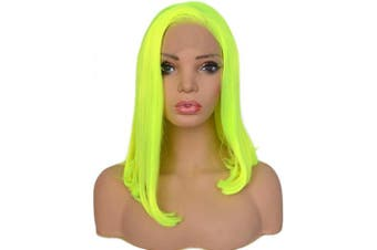 BLUPLE Fluorescent Neon Green Synthetic Lace Front Bob Wigs Short Silk Straight Bright Yellow Green Wig High Temperature Fibre For Women Party Show (36cm , Straight,Bright Yellow Green)