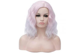 36cm Women Short Kinky Straight Cosplay Synthetic Wigs With Air Bangs 9 Colours Available (white 2)