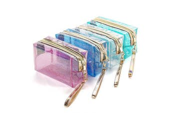 4Pcs Waterproof Cosmetic Bags PVC Transparent Zippered Toiletry Bag with Handle Strap Portable Clear Makeup Bag Pouch for Bathroom, Vacation and Organising