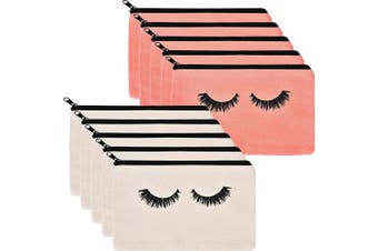 10 Pieces Eyelash Makeup Bags Cosmetic Bags Travel Make up Pouches with Zipper for Women Girls (Beige and Pink)
