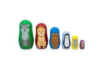 11cm Set of 6 Wolf, Lion, Owl, Penguin Wild Animals Plastic Nesting Dolls