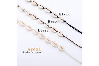 (Beige) - Asooll SeaShell Choker Necklace Beach Knitted Shell Necklace Handmade Summer Chain Braided Sea Shell Fashio Jewellery for Women and Girls (Beige)