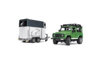 (02592 - Wagon w/ trailer & horse) - Bruder Toys Land Rover Defender Station Wagon With Horse Trailer And 1 Horse