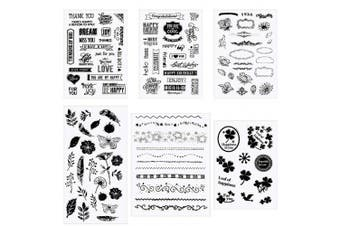 Apipi 6 Sheets of Silicone Clear Stamps with 110+ Stamps in Different Themes, Pretty Patterns Seal Stamps for Card Making Decoration and Scrapbooking