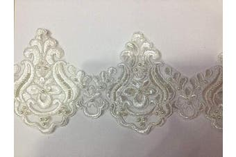 (White 5 Yards) - Beaded Lace Trim Sequinned Vintage Decorative Wedding/Bridal DIY Craft Sewing Coloured Fabric TR3 (White 5 Yards)