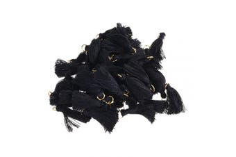 BCP 50PCS Black Colour Silky Handmade Tiny Soft Tassels With Golden Jump Ring for Earring DIY Jewellery Making Accessory