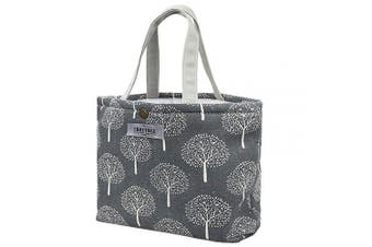 (Dark Grey Large Version (34CM X 25CM)) - Canvas Insulated Cool Bag Large Lunch Box Tote Bag Picnic BBQ Food Carrier Travel School Office Lunch Carry Bag Cooler