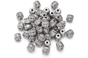(Barrel Beads, 50pc) - Craftdady 50Pcs Antique Silver Carved Barrel Spacer Beads 6x6mm Tibetan Metal Drum Loose Beads for Jewellery Making Hole: 1.5mm Lead Free Nickel Free Cadmium Free