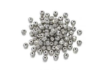 (Corrugated Beads, 100pc) - Craftdady 100Pcs Antique Silver Tiny Corrugated Round Spacer Beads 4mm Tibetan Lead Free & Cadmium Free Metal Loose Beads for DIY Jewellery Craft Making