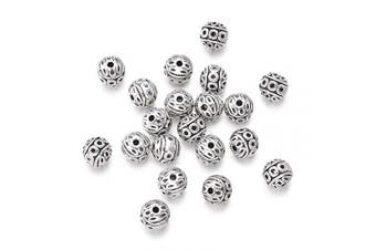(Round Beads, 20pc) - Craftdady 20Pcs Antique Silver Round Ball Spacer Beads 8mm Lead Free & Nickel Free & Cadmium Free Tibetan Metal Loose Beads with 1mm Hole for DIY Jewellery Craft Making