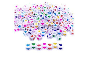 (Heart Beads-400) - Amaney 400Pcs 6x6mm White Acrylic Colourful Heart sheap Cube Beads Mixed Colours Letter Beads Plastic Cube Shape Loose Beads for Jewellery Making Bracelets Necklaces Key Chains and Kids Jewellery