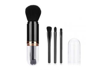 Ibellene Portable Makeup Brush Set,4 in 1 Telescopic Makeup Brushes Foundation Brush Powder Brush Eye Shadows Brushes Kit with Lids,Mini Cute Makeup Brushes for Travel & Household Use