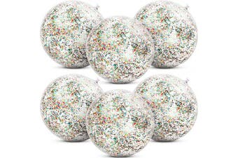 (Multicolor) - Gejoy 6 Pieces Inflatable Glitter Beach Ball Confetti Beach Balls Transparent Swimming Pool Party Ball for Summer Beach Water Play Toy, Pool and Party Favour, 41cm (Multicolor)