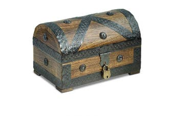 (Pirat M 9,4x6,3x6,3 Inch) - Brynnberg - Pirate Treasure Chest Storage Box - Durable Wood & Metal Construction - Unique, Handmade Vintage Design With A Front Lock - The Best Gift (Medium with lock 24x16x16cm)