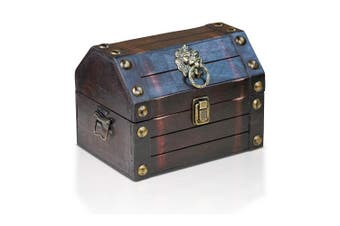 (Lionshead S) - Brynnberg wooden pirate treasure chest Lionshead S 22x16x16cm decorative storage box - Vintage decoration handmade