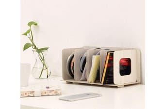 (White) - Wooden 4 Sections Book Shelf DIY Storage Rack Bookshelf Display Organiser Creative stationery Storage File Letter Documents Magazine Paper Holder CD DVD Storage Shelf for Home Office White (White)