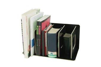 (Black) - Wooden 4 Sections Book Shelf DIY Storage Rack Bookshelf Display Organiser Creative stationery Storage File Letter Documents Magazine Paper Holder CD DVD Storage Shelf for Home Office White (Black)