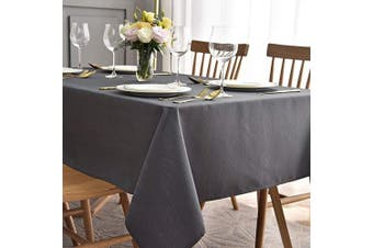 (Rectangle 150cm  X 260cm , Charcoal) - maxmill Jacquard Table Cloth Waving Pattern Water Proof Wrinkle Free Heavy Weight Soft Tablecloth Decorative Fabric Table Cover for Outdoor and Indoor Use Rectangular 150cm x 260cm Charcoal