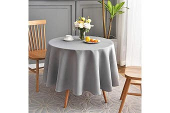 (Round 230cm , Light Grey) - maxmill Round Jacquard Tablecloths Swirl Pattern Spillproof Wrinkle Free Heavy Weight Soft Table Cloth for Circular Table Cover of Buffet Banquet Parties Holiday Dinner Round 230cm Light Grey