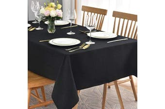 (Rectangle 150cm  X 360cm , Black) - maxmill Jacquard Table Cloth Waving Pattern Water Resistant Wrinkle Resistance Oil Proof Heavy Weight Soft Tablecloth for Kitchen Dinning Tabletop Decoration Oblong 150cm x 360cm Black