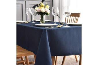 (Rectangle 150cm  X 260cm , Navy Blue) - maxmill Jacquard Table Cloth Waving Pattern Water Proof Wrinkle Free Heavy Weight Soft Tablecloth Decorative Fabric Table Cover for Outdoor and Indoor Use Rectangular 150cm x 260cm Navy Blue