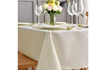 (Rectangle 150cm  X 260cm , Ivory) - maxmill Jacquard Table Cloth Waving Pattern Water Proof Wrinkle Free Heavy Weight Soft Tablecloth Decorative Fabric Table Cover for Outdoor and Indoor Use Rectangular 150cm x 260cm Ivory