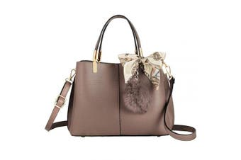 (Taupe Brown) - CRAZYCHIC - Women's Handbag with Scarf Pompom - Elegant Tote Shoulder Crossbody Bag PU Leather - Multiple Compartments Ladies Shopper - Fashion City Top-Handle Bag Casual Work Daily - Taupe Brown