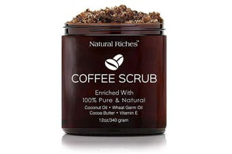 Arabica Coffee Scrub, All Natural Body Scrub for Skin Care, Stretch Marks, Acne & Cellulite, Reduce the Look of Spider Veins, Eczema, Age Spots & Varicose Veins - (350ml / 340gm)