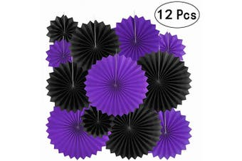 (Paperfan-pblackpurple-12pc) - Video Game Party Hanging Paper Fans Decorations - Gaming Birthday Party Wedding Bridal Shower Bachelorette Carnival Party Ceiling Hangings Photo Booth Backdrops Decorations, 12pc