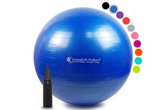 (45 cm, Blue) - Exercise Ball for Yoga, Balance, Stability from SmarterLife - Fitness, Pilates, Birthing, Therapy, Office Ball Chair, Classroom Flexible Seating - Anti Burst, No Slip, Workout Guide