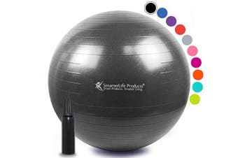 (45 cm, Black) - Exercise Ball for Yoga, Balance, Stability from SmarterLife - Fitness, Pilates, Birthing, Therapy, Office Ball Chair, Classroom Flexible Seating - Anti Burst, No Slip, Workout Guide