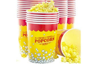 (100) - Premium Leak-Free 950ml Disposable Popcorn Cup 100pk By Avant Grub. Stackable Buckets With Fun Design. Great For Concession Stands, Carnivals, Fundraisers, School Events, Or Family Movie Nights.