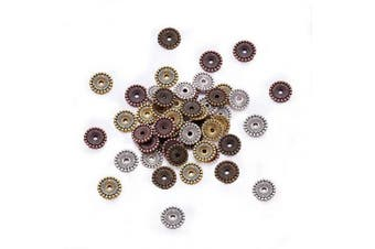 (12mm x 2mm, Round) - Beadthoven 180pcs 12x2mm Tibetan Silver Disc Spacer Beads Mixed Colour Assorted Jewellery Beading Accessories Supplies Cadmium Free & Nickel Free & Lead Free