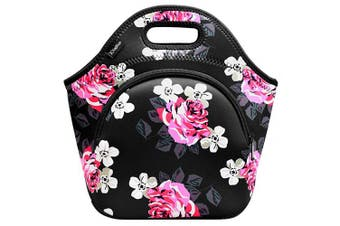 (Large, Flower) - Kaptron Lunch Bag, Thick insulated Lunch Tote Lunch Box Bag - Cover for adults, women, girls, school children - Suitable for Travel, Picnic, Office