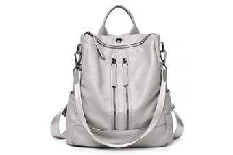 (13-light Grey) - Women Backpack Purse Leather Fashion Travel Casual Detachable Ladies Shoulder Bag