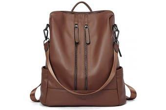 (14-brown) - Women Backpack Purse Leather Fashion Travel Casual Detachable Ladies Shoulder Bag