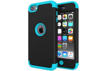 (Black/Sky Blue) - iPod Touch 7 Case for Boys, iPod Touch 6 Case, SLMY(TM) Heavy Duty High Impact Armour Case Cover Protective Case for Apple iPod Touch 5/6/7th Generation Black/Sky Blue