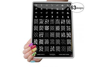 (Home Sweet Home) - VAGA Nail Art Stamping Kit Jumbo Manicure Image Plate 7 Home Sweet Home/This Nail Stamping Plate has 63 Patterns to Match all your Nail Polish and Stamping Polish Colours, A Must Have Nail Kit